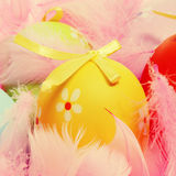 Easter eggs and feathers Stock Photo