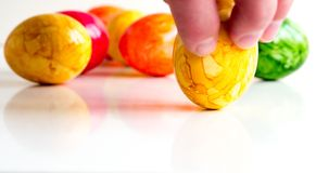 Easter eggs in different colors Stock Images