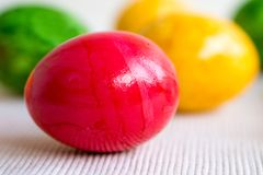 Easter eggs in different colors Royalty Free Stock Image