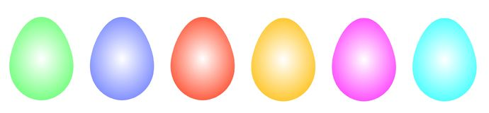 Easter eggs in different colors in a row Royalty Free Stock Image