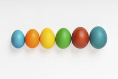 Easter eggs. Of different sizes and colors arranged in a line. Clipping path included Royalty Free Stock Image