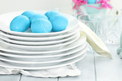 Easter Eggs and Dishware Royalty Free Stock Photo
