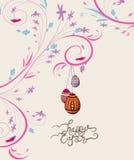 Easter eggs doodle florals vintage background Stock Image