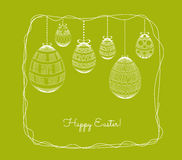 Easter eggs in doodle frame background Stock Photo