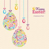 Easter eggs in doodle minimalism style with place Royalty Free Stock Photos