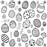Easter eggs doodle. Vector set of doodle easter eggs on white background Royalty Free Stock Photography