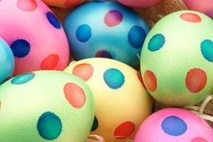 Easter Eggs with dots. Close up, studio shot Stock Photography