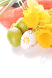 Easter eggs with dots and yellow spring flower Royalty Free Stock Photo