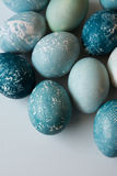 Easter eggs, dyed blue dye Royalty Free Stock Images