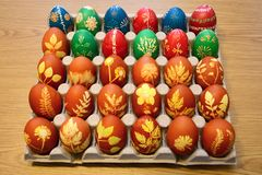 Easter eggs dyed in onion skins and and eggs on which beeswax is used to create images. royalty free stock photos