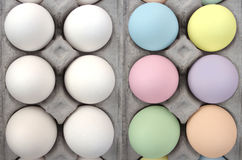 Easter eggs, before and after dying stock image