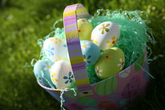 Easter Eggs and Easter Basket Stock Photography