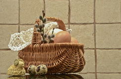 Easter Eggs and Easter Basket royalty free stock photo