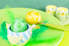 Easter eggs, easter breakfast Royalty Free Stock Photography