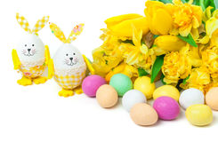 Easter Eggs, Easter Bunnies, Easter flowers Stock Image