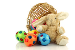 Easter eggs and an easter bunny Royalty Free Stock Photos