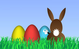 Happy Easter. Background with easter eggs and easter bunny Royalty Free Stock Photography