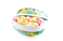 Easter eggs with Easter candy Stock Image