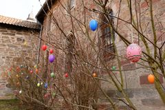Easter eggs and easter decoration. The Easter eggs and easter decoration Stock Images