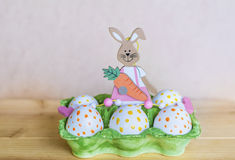 Easter eggs and easter rabbit Royalty Free Stock Photography