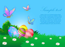 Easter eggs ecard. The vector illustration contains the image of Easter eggs and butterflies Stock Photo
