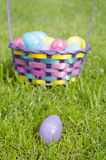 Easter Eggs. Easter egg basket, egg hunt Stock Photo