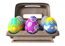Easter Eggs in an Egg Box Stock Photography