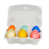 Easter eggs in egg box Royalty Free Stock Images