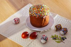 Easter Eggs and egg bread stock photography