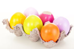 Easter eggs in egg carton Stock Photo