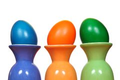 Easter eggs in egg cups Royalty Free Stock Photos