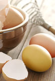 Easter eggs & eggshells in clay bowl Royalty Free Stock Photo