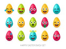 Easter eggs emoji set. Cute funny emotional icons. Happy emoticons. Smiling faces symbols. Vector illustration Royalty Free Stock Images