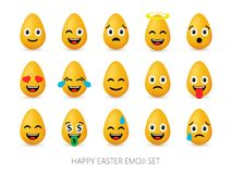 Easter eggs emoji set. Cute funny emotional icons. Happy emoticons. Smiling faces symbols. Vector illustration Royalty Free Stock Photos