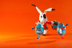 Easter eggs escape from rabbit Royalty Free Stock Image