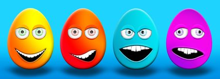 Easter Eggs With Eyes and Mouth Feeling Happy, Confused, Angry a. Nd Stupid 3D Illustrations Stock Photos