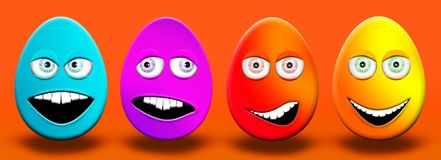 Easter Eggs With Eyes and Mouth Feeling Happy, Confused, Angry a. Nd Stupid 3D Illustrations Royalty Free Stock Images