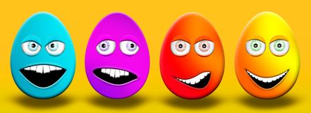 Easter Eggs With Eyes and Mouth Feeling Happy, Confused, Angry a. Nd Stupid 3D Illustrations Stock Photography