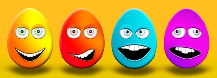 Easter Eggs With Eyes and Mouth Feeling Happy, Confused, Angry a. Nd Stupid 3D Illustration Stock Images