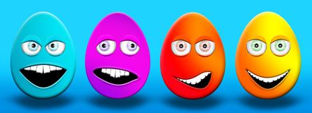 Easter Eggs With Eyes and Mouth Feeling Happy, Confused, Angry a. Nd Stupid 3D Illustrations Stock Image