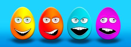 Easter Eggs With Eyes and Mouth Feeling Happy, Confused, Angry a. Nd Stupid 3D Illustrations Royalty Free Stock Photos