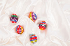 Easter eggs on  fabric background Royalty Free Stock Photography