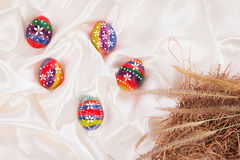 Easter eggs on  fabric background Stock Photo