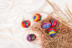 Easter eggs on  fabric background Royalty Free Stock Photo