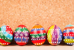 Easter eggs on  fabric background Stock Photography