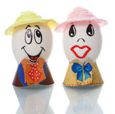 Easter eggs with faces Stock Images