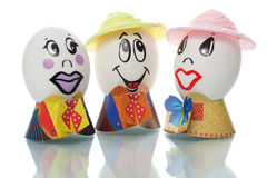 Easter eggs with faces Stock Photo