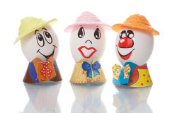 Easter eggs with faces Royalty Free Stock Images