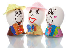 Easter eggs with faces Stock Image