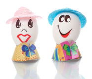 Easter eggs with faces Stock Photos